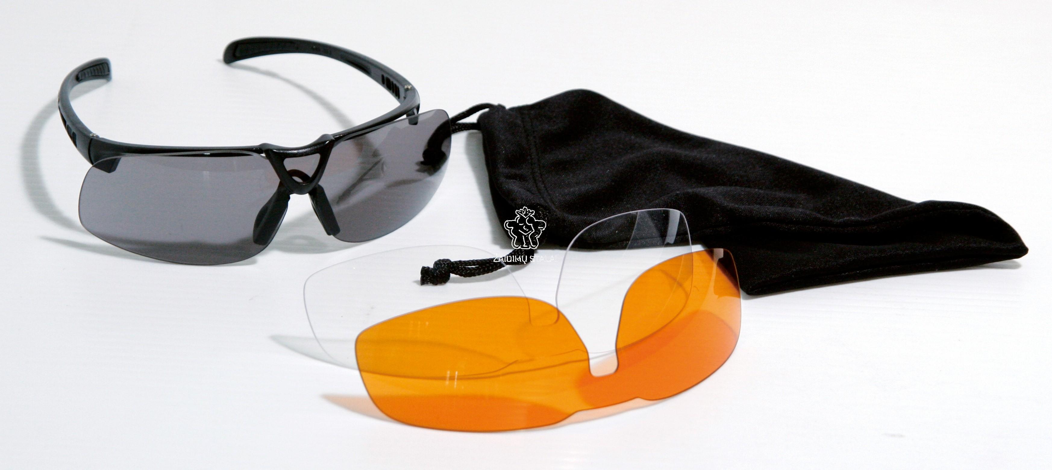 Sportavimo akiniai PRO su 3 stiklų poromis