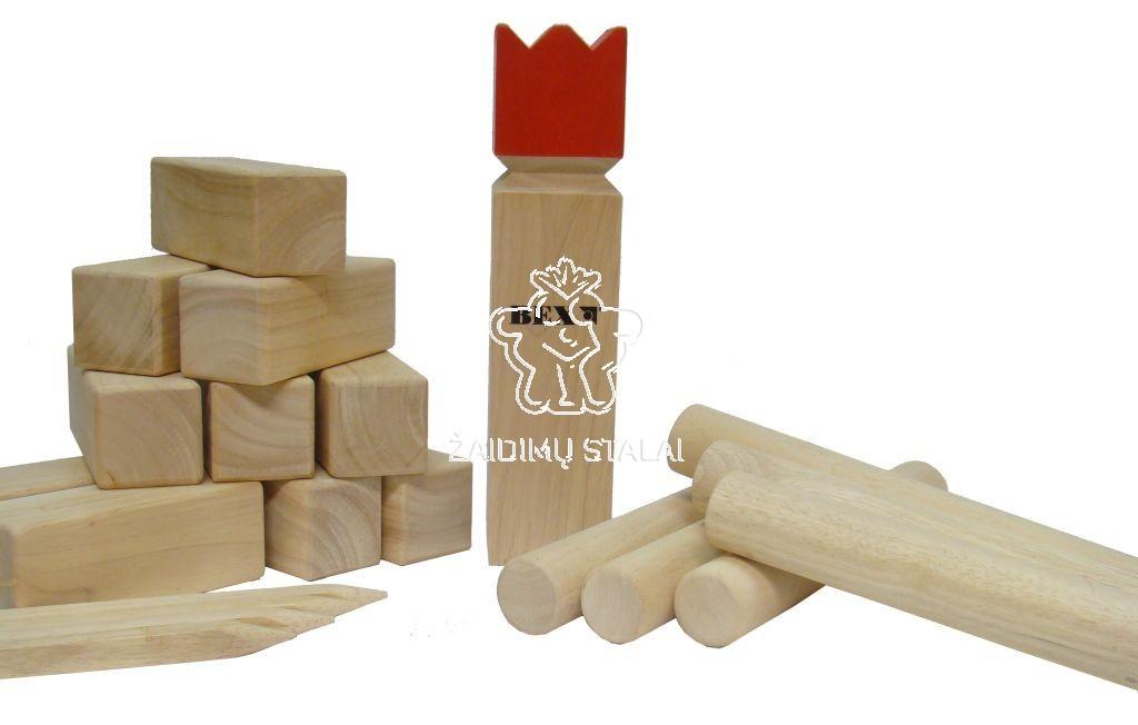 Lauko žaidimas Kubb Original, raudonas karalius
