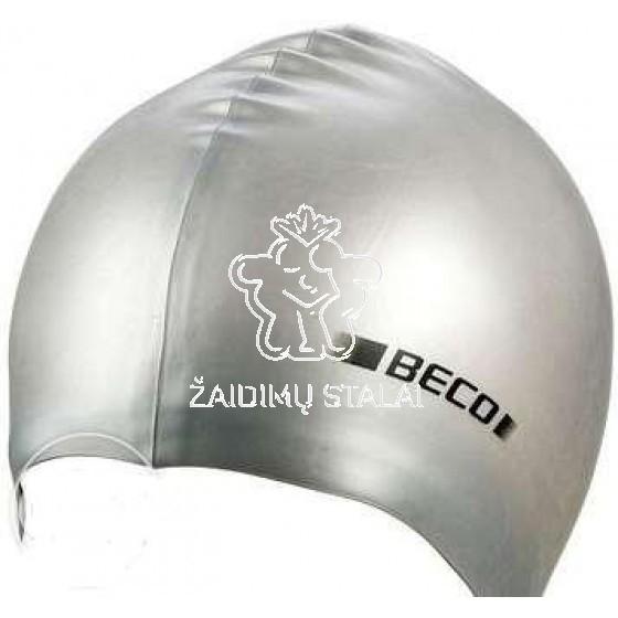 Vaikiška plaukimo kepurė BECO, silikoninė, sidabrinė