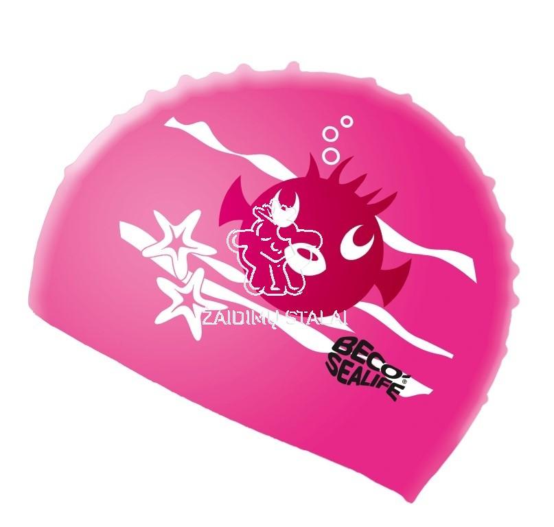 Vaikiška plaukimo kepurė BECO Sealife, silikoninė, rožinė