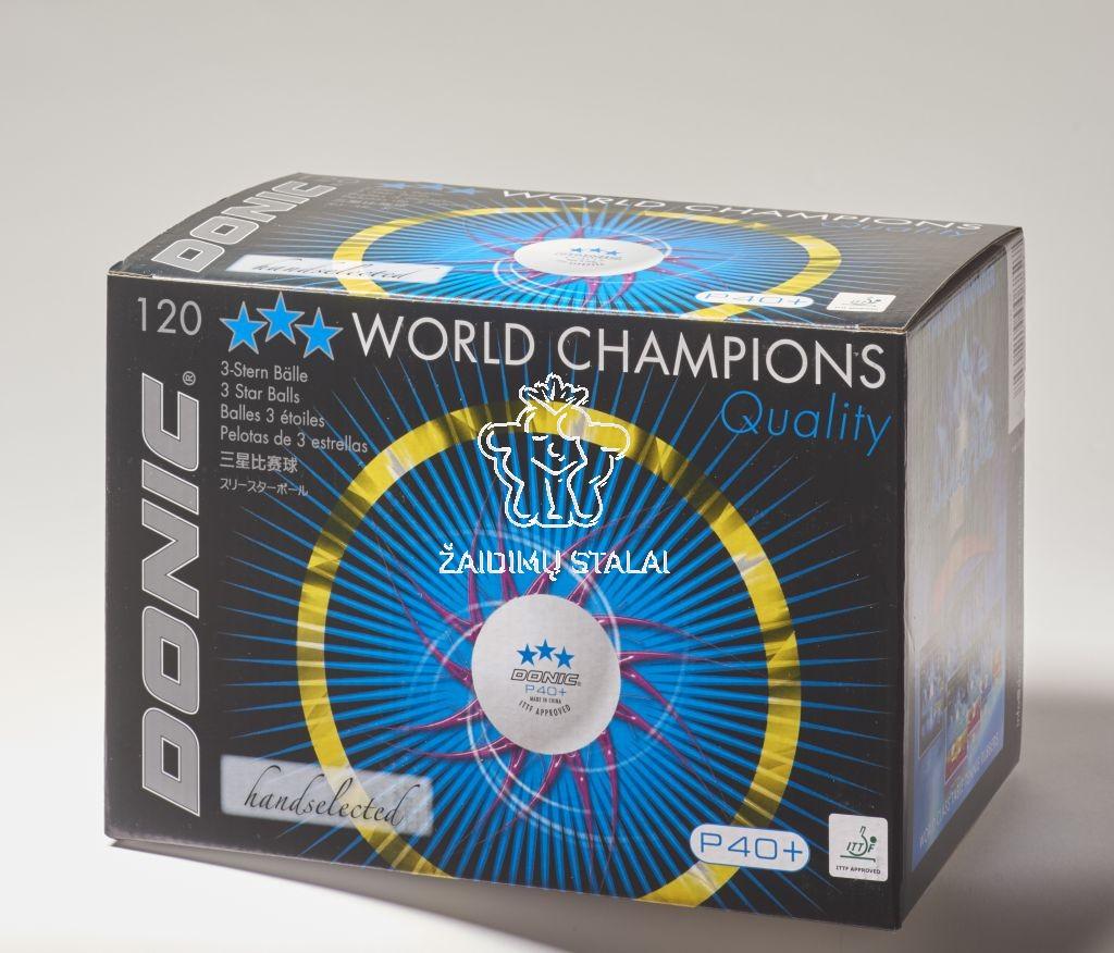 Stalo teniso kamuoliukai Donic P40+***  balti (120vnt. pak.)