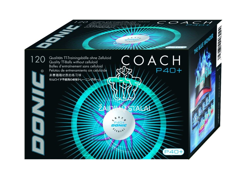 Stalo teniso kamuoliukai Donic Coach P40+ balti (120vnt. pak.)