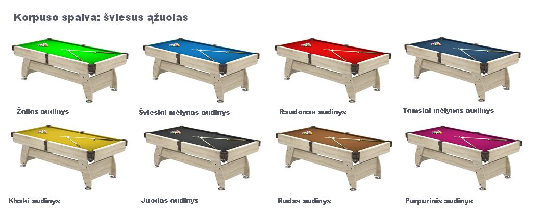 Pulo stalas_Q15_sviesus_azuolas_audiniai_pool_table