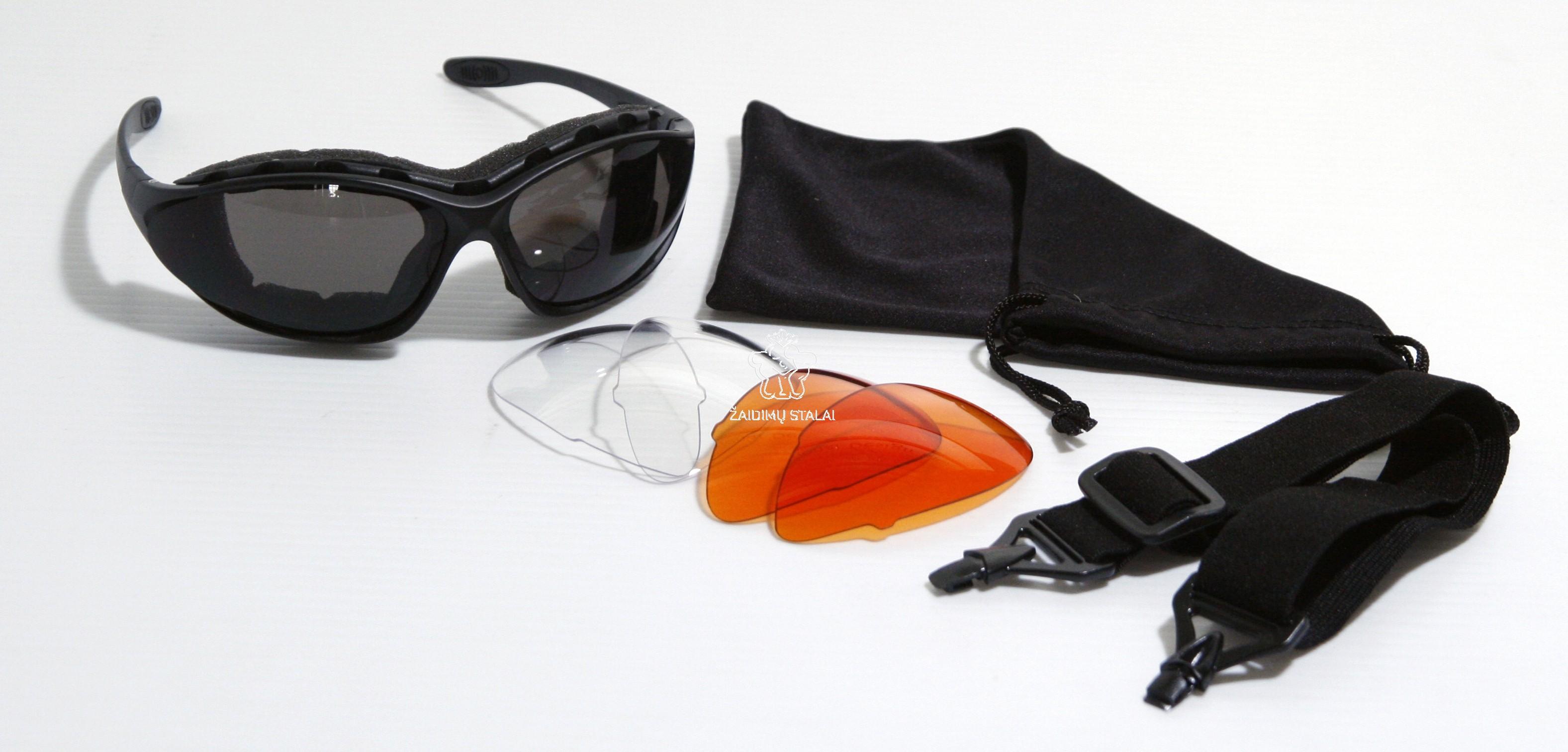 Sportavimo akiniai su 3 stiklų poromis ir dėklu