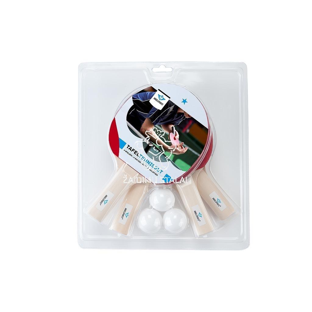 Stalo teniso rinkinys Angel Sports, 4 raketės, 3 kamuoliukai