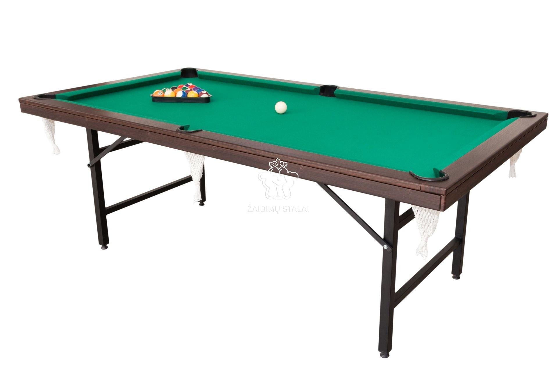 Pulo stalas Folden 6' pėdų (210x110cm) žalias audinys, su komplektacija